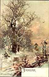 Künstler Ak Tuggenberger, Monat Januar, Winter, Postkutsche, Schnee