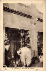 Postcard Tunis Tunesien, Boutique des poteries, Töpfermarkt