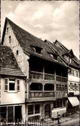 Postcard Ladenburg Neckar, Blick auf das Patrizierhaus, Balkon, Straßenpartie