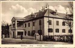 Postcard Cetinje Montenegro, Straßenpartie mit Blick auf Königspalais