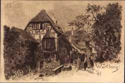 Künstler Ak Jander, Carl, Lutherstadt Eisenach in Thüringen, Wartburg, Hof