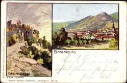 Künstler Ak Gottschalg, F., Bad Blankenburg, Greifenstein, Blick auf den Ort
