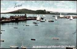 Postcard Dublin Irland, Howth Harbour and Ireland's Eye, Hafen, Boote