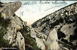 Postcard Wicklow County Irland, The Scalp, Felsformationen, Talblick, Gleise