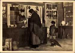 Künstler Ak Philippi, Peter, Beim Krämer, HDK 546, Alte Frau, Kind