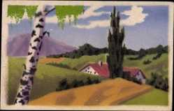 Handgemalt Ak Haus im Tal, Frühling, Birke, Blauer Himmel