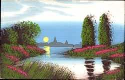Handgemalt Ak Frühlingsidyll, Partie am See, Baumblüte, Sonne