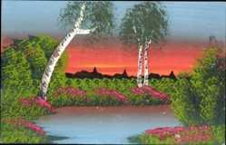 Handgemalt Ak Frühlingsidyll, Baumblüte, Birken, Dämmerung