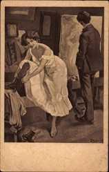 Künstler Ak Reznicek, Ferdinand von, Maleratelier, Aktmodel, Stiefel