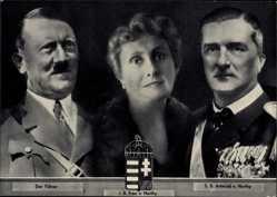 Postcard Führer und Reichskanzler Adolf Hitler, Reichsverweser Miklós Horthy, Ehefrau