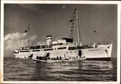 Postcard Dampfer MS Königin Luise, HAPAG Seebäderdienst, Ausbooten