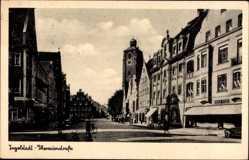 Postcard Ingolstadt an der Donau Oberbayern, Blick in die Theresienstraße, Giebel