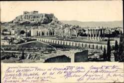Postcard Athen Griechenland, Stadtpanorama, Akropolis, Säulen, Parkanlagen
