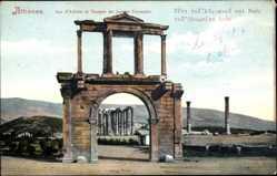 Postcard Athen Griechenland, Arc Adrien, Temple de Jupiter Olympien, Bogen