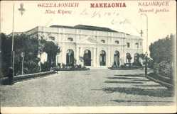 Postcard Thessaloniki Griechenland, Nouvel jardin, Neuer Garten, Gebäude, Säulen