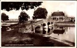 Postcard Leicester East Midlands England, Abbey Bridge and Pavilion