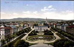 Postcard Zagreb Kroatien, Panorama, Parkanlage, Gebäude, Kirchturm