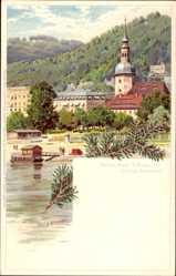 Künstler Litho Nöther, A., Bad Schandau an der Elbe, Blick auf den Ort, Kirche