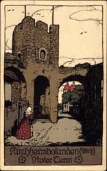 Steindruck Ak Kirchheimbolanden im Donnersbergkreis, Frau am Roten Turm