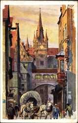 Künstler Ak Kley,Heinrich, Nürnberg in Mittelfranken Bayern, Rathausstraße, Turm
