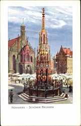 Künstler Ak Kley, Heinrich, Nürnberg in Mittelfranken Bayern,Schöner Brunnen