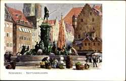 Künstler Ak Kley, Heinrich, Nürnberg in Mittelfranken Bayern, Neptunbrunnen