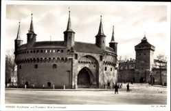 Postcard Kraków Krakau Polen, Rundbastei und Floriantor, Alte Stadtmauer