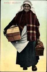 Ak Nordbrabant Niederlande, Alte Frau mit Paket und Korb