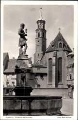 Postcard Augsburg in Schwaben, Blick auf den Goldschmiedsbrunnen, Kirche