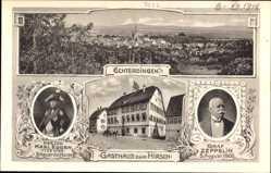 Postcard Leinfelden Echterdingen, Graf Zeppelin, Gasthaus zum Hirsch,Herzog Karl Eugen