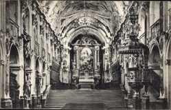 Postcard Freising in Oberbayern, Inneres der Domkirche, Altar, Gebetsbänke, Kanzel