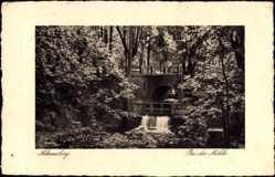 Postcard Ahrensburg im Kreis Stormarn, Partie an der Mühle, Brücke