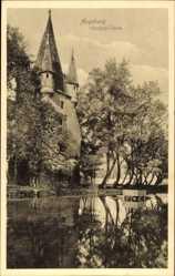 Postcard Augsburg in Schwaben, Gewässerpartie mit Blick auf Fünfgrat Turm
