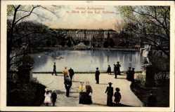 Postcard Stuttgart in Baden Württemberg, Oberer Anlagensee mit Blick auf das Schloss