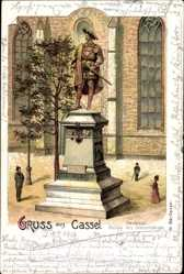 Litho Kassel in Hessen, Denkmal Philipp des Grossmütigen vor der Kirche