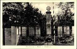 Postcard Hofheim im Ried Lampertheim im Kreis Bergstraße Hessen, Blick auf Denkmal
