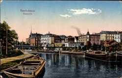Postcard Saarbrücken im Saarland, Flusspartie mit Booten und Ortschaft