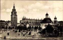 Postcard Kraków Krakau Polen, Rynek, Ratusz, Sukiennice, Kosciol sw. Wojciecha