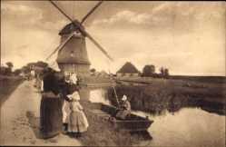 Ak Edam Volendam Nordholland, Molenzicht, Windmühle, Kinder und Frau in Tracht
