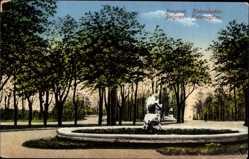 Postcard Belgrad Serbien, Kalemegdan, Parkanlage, Blick auf einen Brunnen