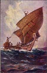 Künstler Ak Bohrdt, Hans, Das letzte Boot von der Insel Agomes Südsee