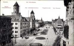 Ak Poznań Posen, Am Schlossplatz, Oberpostdirektion, Tiergartenstraße