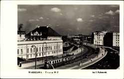 Postcard Warszawa Warschau Polen, Trasa WZ, Straßenbahn, Brücke