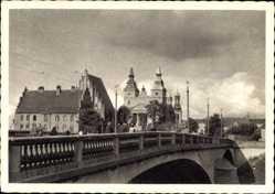 Ak Poznań Posen, Blick zum Dom, Brücke, Oberleitungen