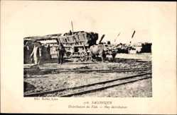 Postcard Saloniki Griechenland, Distribution du Foin, Hay distribution, Fuhrwerk
