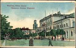Künstler Ak Warszawa Warschau Polen, Wiener Bahnhof, Dworzec Wiedenski