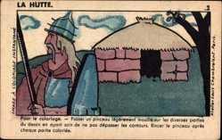 Handgemalt Ak La Hutte, Pour le coloriage, Ausmalkarte, Phosphatine Falières