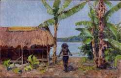 Künstler Ak Müller, Peter Paul, Papua Neuguinea, Fischer, Strohhütte