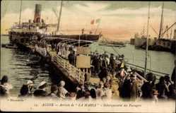 Postcard Algier Alger Algerien,Paquebot La Marsa, Debarquement,Cie de Navigation Mixte