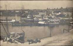 Postcard Christiania Oslo Norwegen, Piperviken, Blick in den Hafen, Dampfschiffe